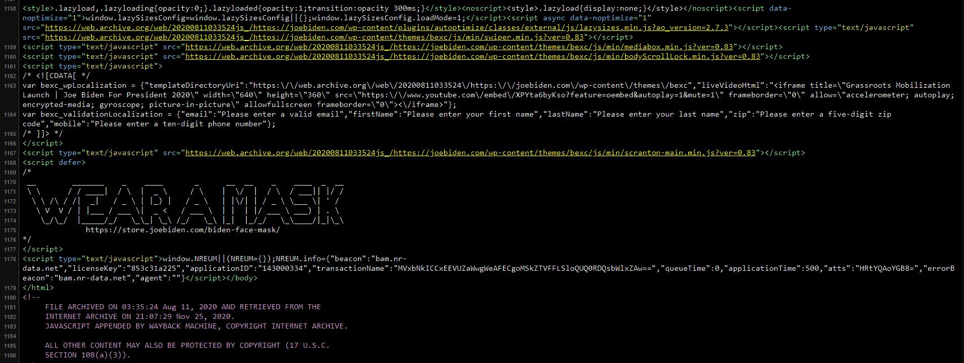 Joebiden.com has a message masked in the source code