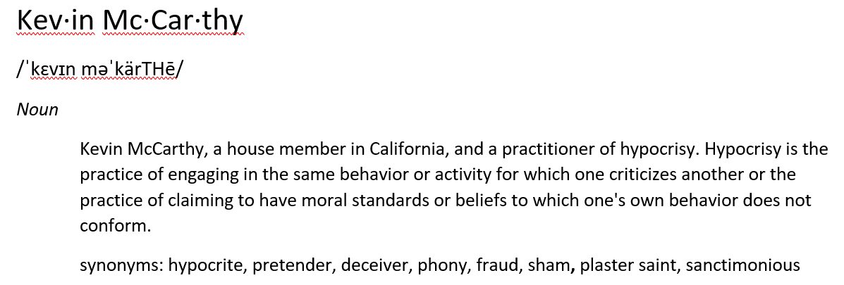 Word of the day: Kevin McCarthy