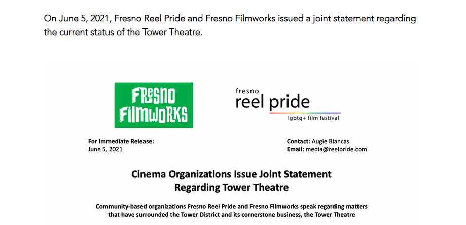 Fresno Reel Pride & Fresno Filmworks make joint statement regarding Tower Theatre